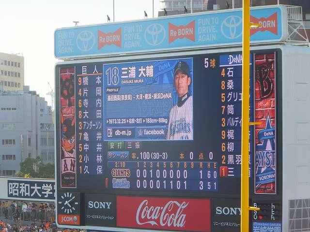 ハマの番長:三浦大輔選手の打席