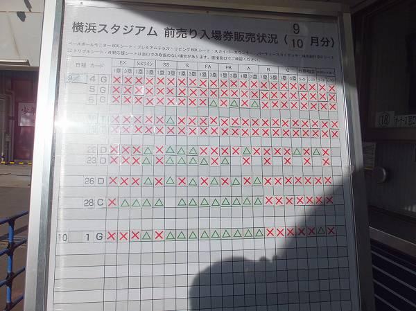 横浜スタジアム、前売り券の状況:ほぼ売り切れ