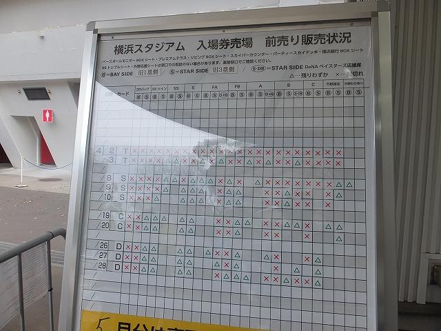 4月分のハマスタチケットの残り状況:横浜スタジアム
