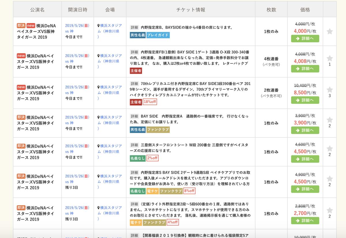 横浜DeNA対阪神タイガース戦・チケットストリート