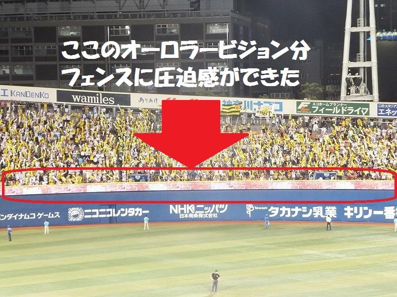 横浜スタジアム外野フェンス上のオーロラービジョン