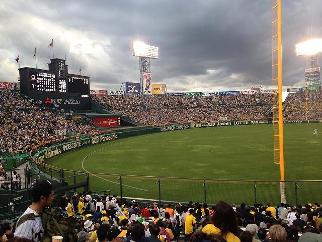 甲子園3塁側アルプス指定席からの景色、眺め、雰囲気