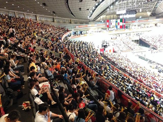 東京体育館3階自由席の景色:リオデジャネイロオリンピック最終予選バレーボール