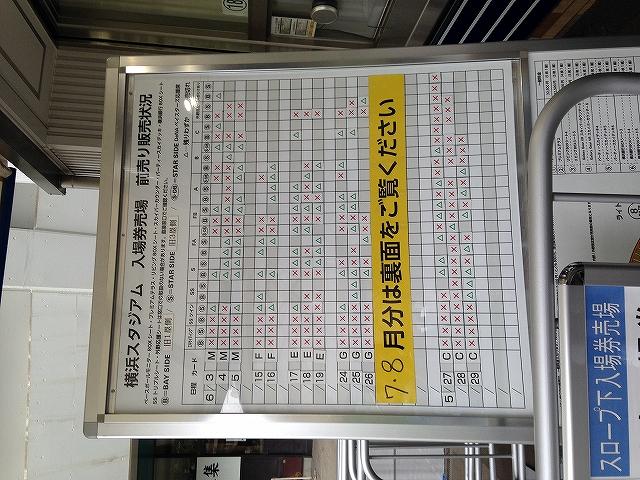 横浜スタジアムチケット売れ行き状況:2016年5月25日
