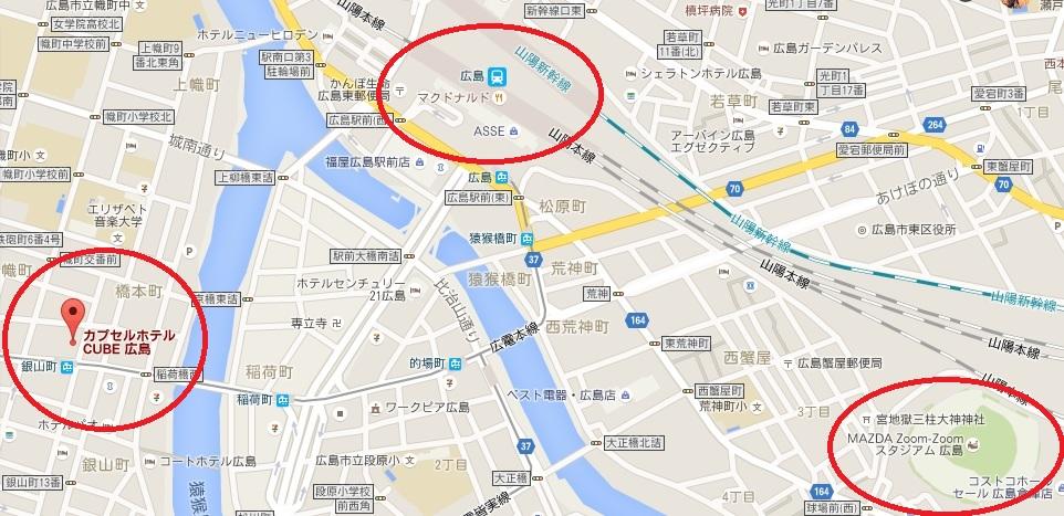 カプセルホテル広島CUBEの場所