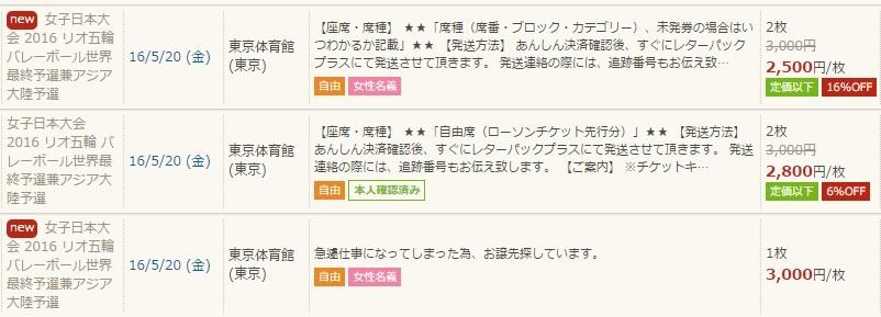 バレーボール日本代表の安売りチケット