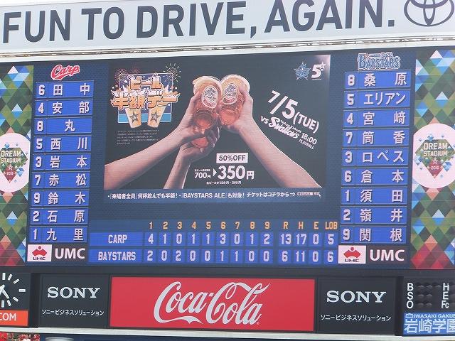 試合結果:横浜DeNA対広島カープ