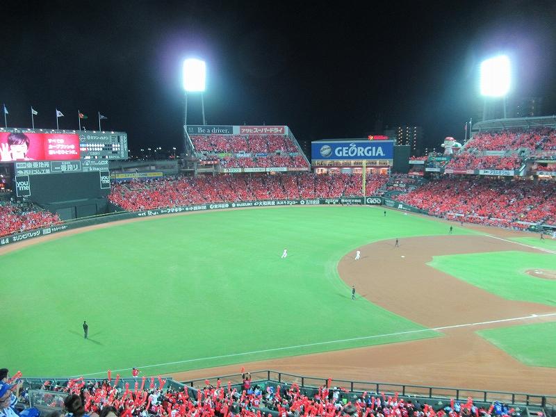真赤に染まる広島マツダスタジアムCS