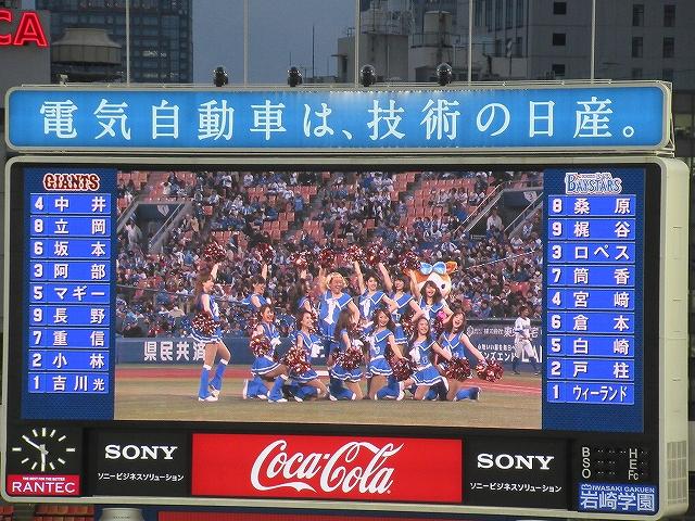 Dianaに混じる上島竜兵:ダチョウ倶楽部始球式:横浜スタジアム