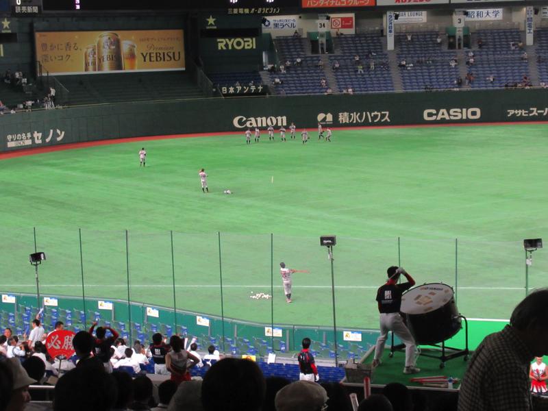 試合前の外野ノック懐かしい・都市対抗野球