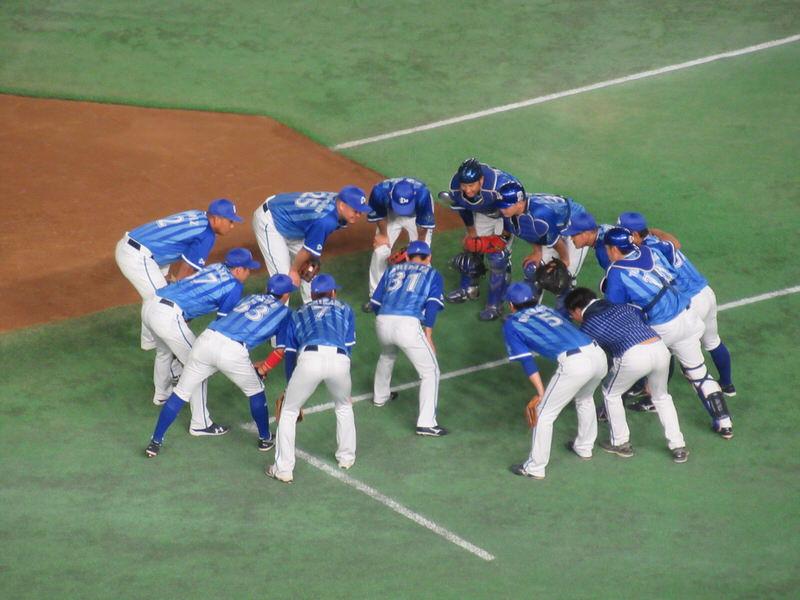 試合前の円陣!横浜DeNAベイスターズ!