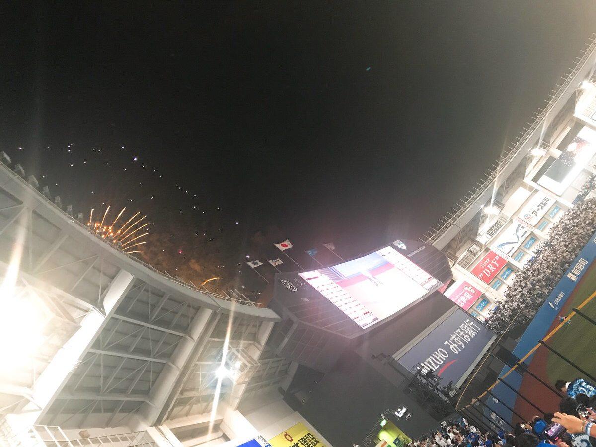 ZOZOマリンビジター外野応援席からの景色・眺め・花火