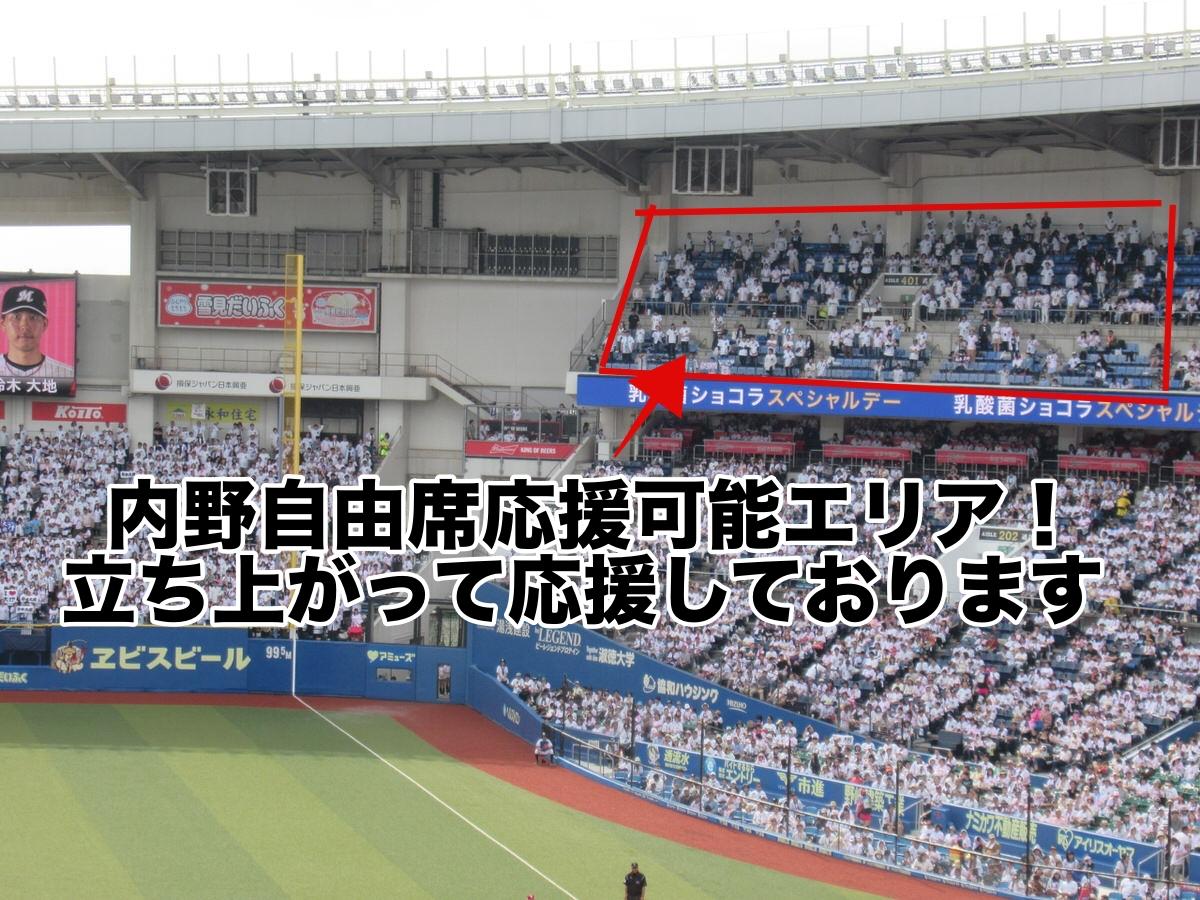 ZOZOマリンスタジアム・内野自由席応援可能エリア!