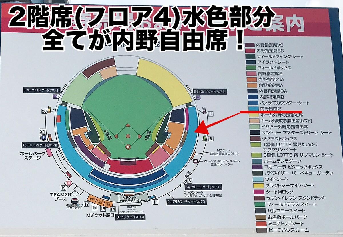 ZOZOマリンスタジアム・内野自由席の場所