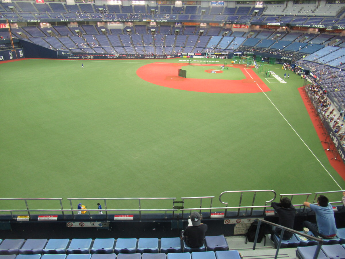 大阪ドームビジター外野上段応援席からの景色
