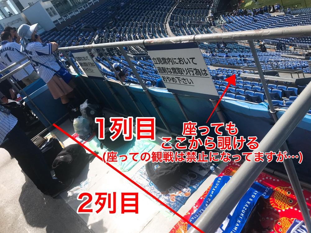 横浜スタジアム内野立ち見席の様子,場所取り