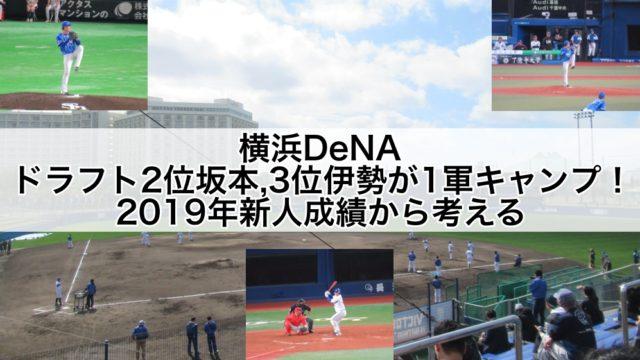 横浜DeNAドラフト2位坂本,3位伊勢が1軍キャンプ!2019年新人成績から考える